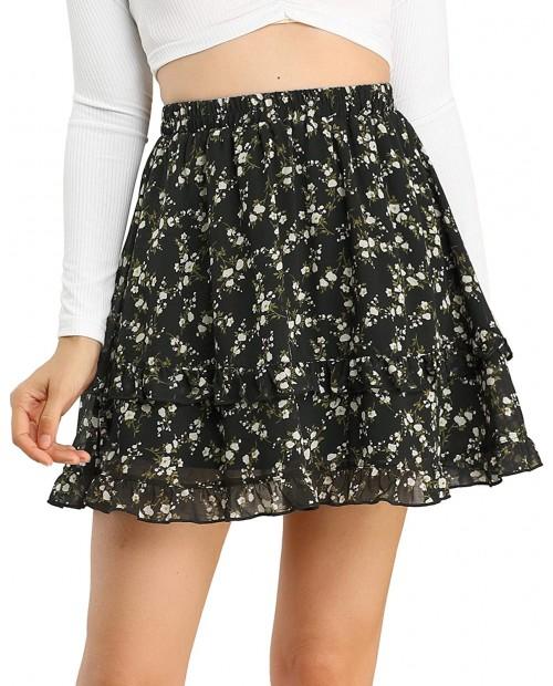 Allegra K Women's Floral Ruffle Layered Mini Skirt Chiffon Summer A-Line Skirts at  Women's Clothing store