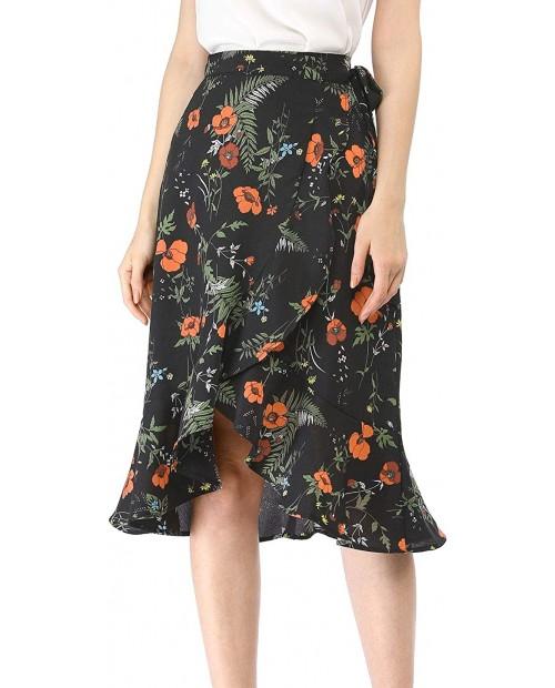 Allegra K Women's Floral Wrap Skirt Asymmetrical Ruffle Tie High Waist Summer Skirts at  Women's Clothing store