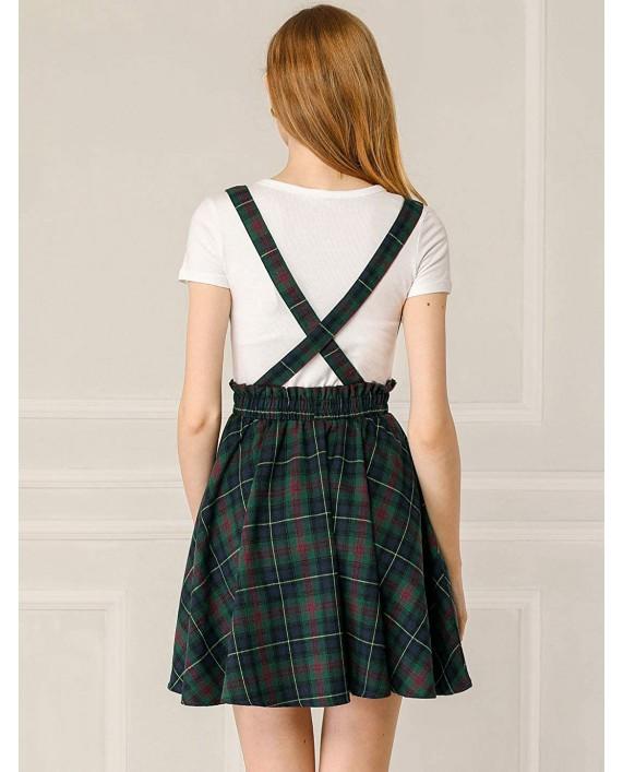 Allegra K Women's Plaid Pleated Mini Tartan Overall Skater Suspender Skirt at Women's Clothing store
