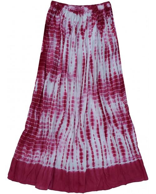 Ayurvastram Viscose Rayon Crinkled Tie n Dye Long Skirt at Women's Clothing store