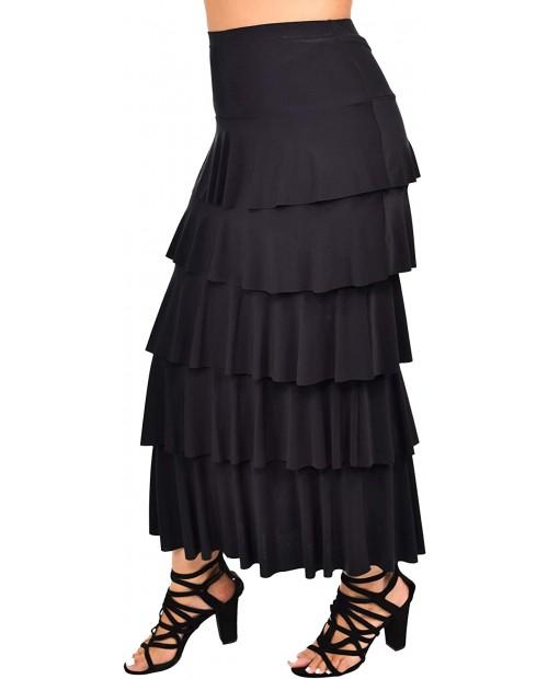 Dare2BStylish Women Boho Waterfall Tiered Layered Maxi Skirt   Reg & Plus Sizes at Women's Clothing store