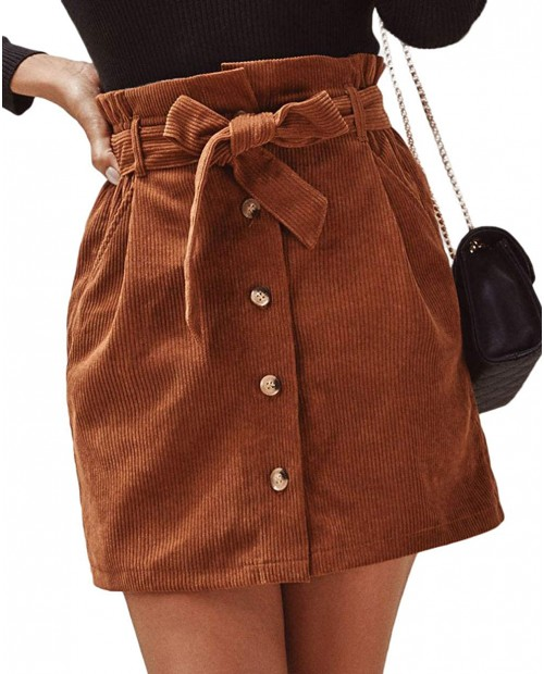 ebossy Women's Paperbag High Waist Button Front Corduroy Mini Skirt with Belt at Women's Clothing store