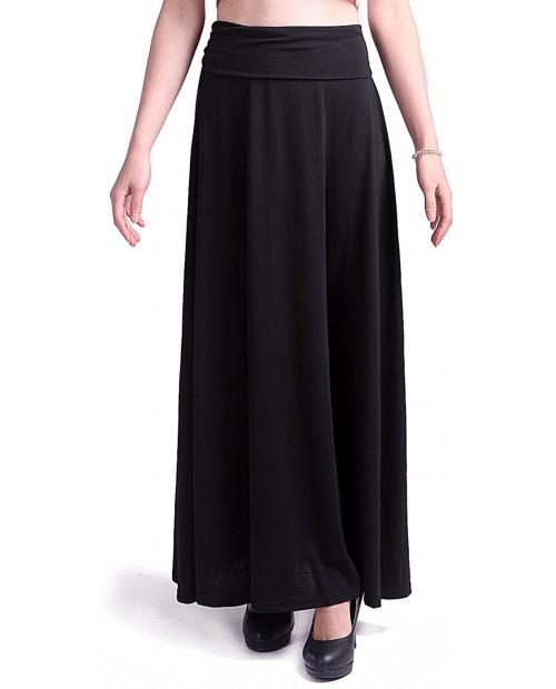 HDE Women's High Waist Fold Over Elastic Long Summer Maxi Skirt Black Small at Women's Clothing store