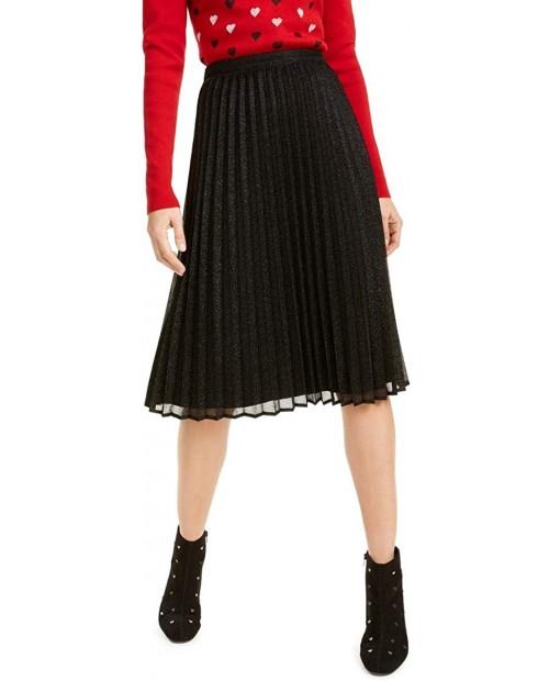 Maison Jules Womens Metallic Pleated Midi Skirt at Women's Clothing store