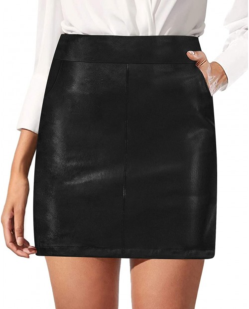 N A HERLOLLYCHIPS Women Classic High Waist Faux Leather A-Line Mini Pencil Bodycon Skirt with Pockets at  Women's Clothing store