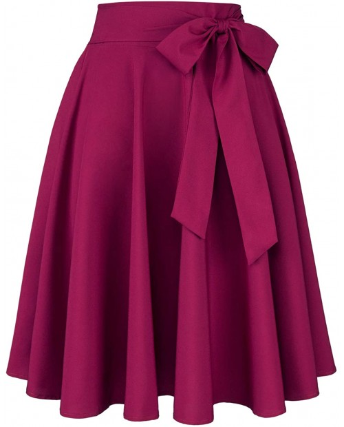 PERSUN Women's Vintage Pleated High Waist A-Line Flared Midi Skirt at Women's Clothing store