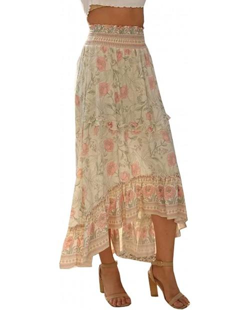 R.Vivimos Women's Floral Print Cotton Ruffled High Low Boho Midi Skirt at Women's Clothing store