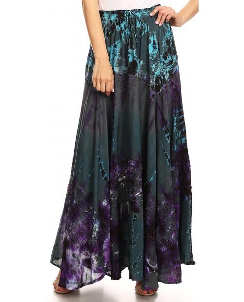 Sakkas 18222 - Ester Womens Simple Boho Maxi Full Circle Tie-dye Skirt with Elastic Waist - Teal - OS at Women's Clothing store