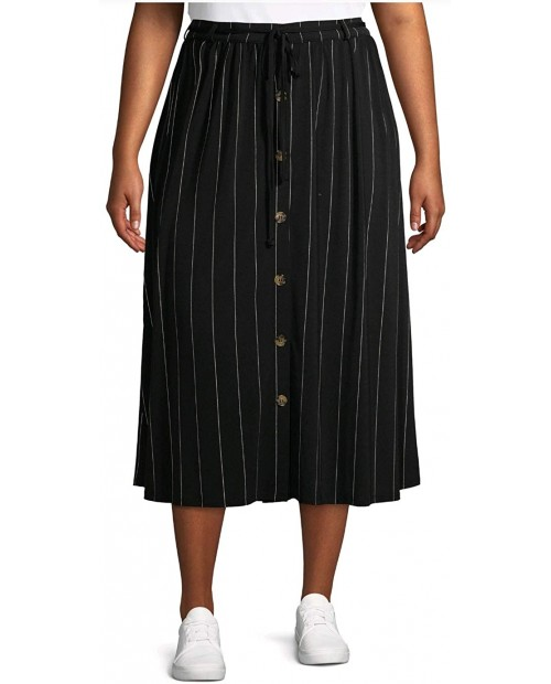 Terra & Sky Black Soot Stripe Plus Size Button Front Maxi Skirt at Women's Clothing store
