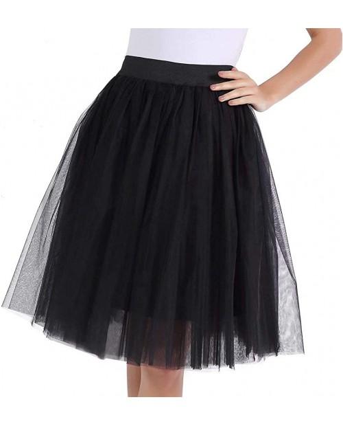 UZN Women's 50s Puffy Tulle Skirts Tutu Stretch Waist Half Slip 5 Layers Retro Party Skirt at  Women's Clothing store