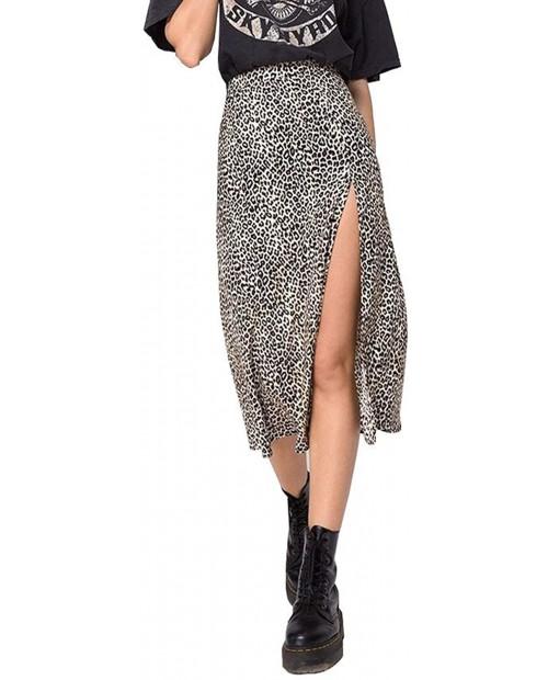 Women's Casual High Waist Boho Printed Side Split A-Line Midi Skirt Leopard Half-Length Maxi Swing Skirt at Women's Clothing store