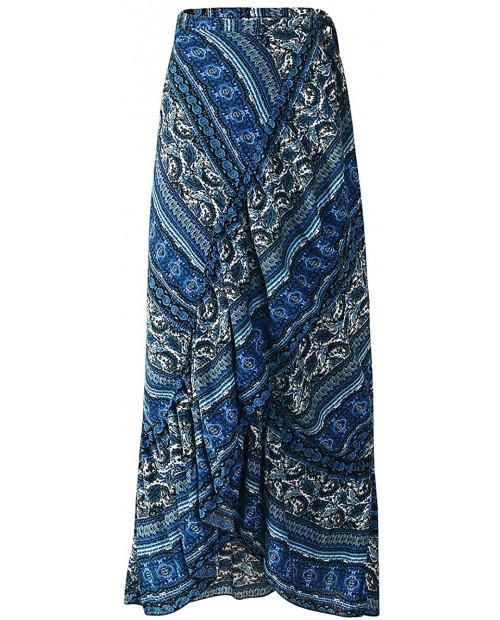 Women's High Waist Long Boho Print Skirt Gypsy Dress Bohemian Side Wrap Split Ruffled Asymmetric Hem Maxi Skirt one Size Blue at Women's Clothing store
