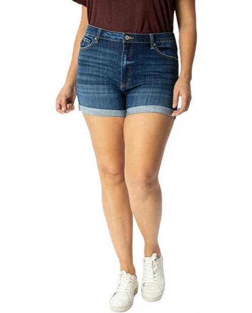 Kancan Women's Plus Size High Rise Folded Hem Shorts - KC7326D-P at Women's Clothing store