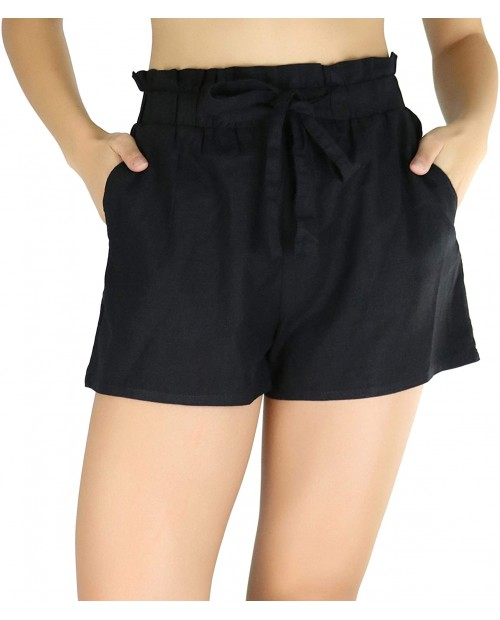 ToBeInStyle Women's Solid and Multi-Stripe Woven Paperbag Shorts at Women's Clothing store