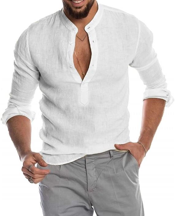 Babioboa Men's Cotton Linen Henley Shirt Long Sleeve Basic Summer T-Shirt Band Collar Yoga Tops