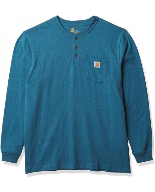 Carhartt Men's Workwear Pocket Henley Shirt Regular and Big & Tall Sizes Ocean Blue Heather 6.5N at  Men's Clothing store