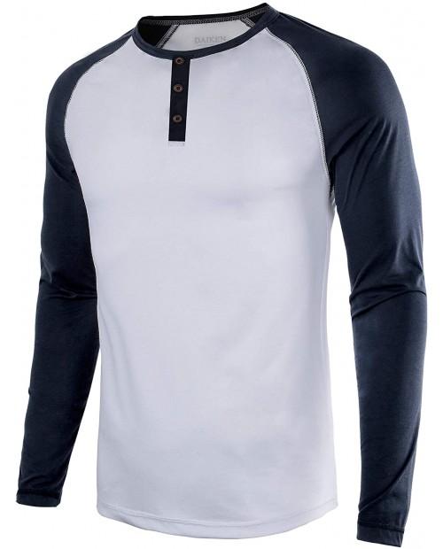 Men's Casual Long Sleeve T-Shirt Vintage Raglan Button Up Henley Baseball Shirts at  Men's Clothing store