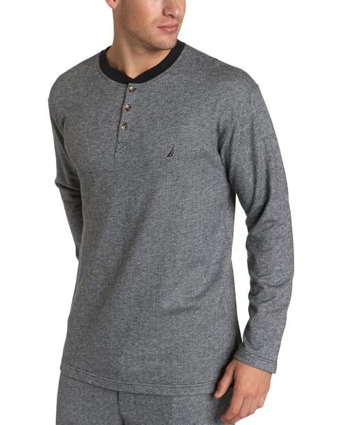 Nautica Men's Herringbone Yarn Dyed Knit Long Sleeve Sleep Henley at  Men's Clothing store Pajama Tops