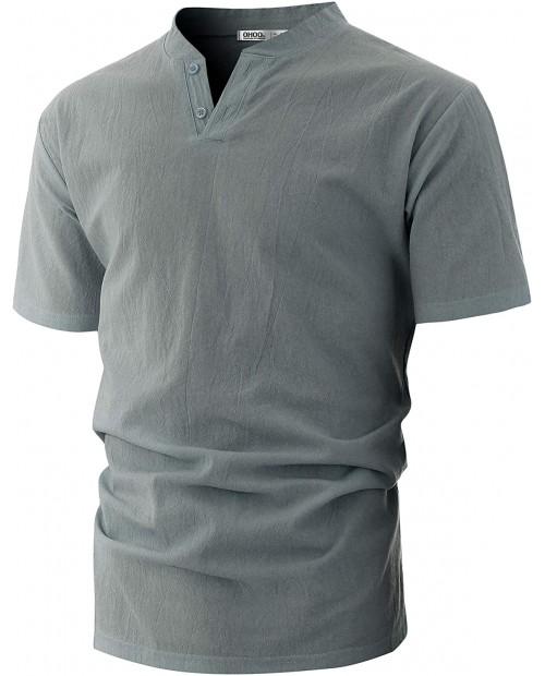 OHOO Mens Slim Fit Ultra Light Cotton Linen Blend Long Sleeve Popover Work Shirt at  Men's Clothing store