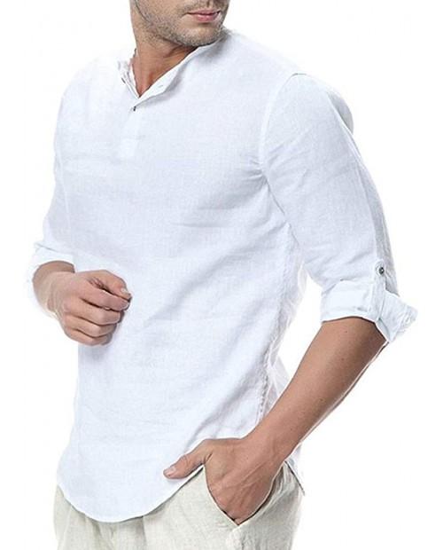 WULFUL Mens Cotton Linen Henley Shirt Loose Fit Long Sleeve Casual T-Shirt Beach Yoga Tops at  Men's Clothing store