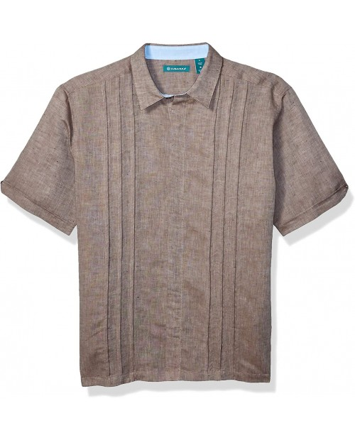 Cubavera Short Sleeve Multiple Tuck Shirt at  Men's Clothing store