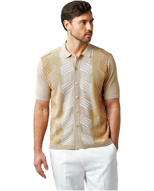 EDITION S Men's Short Sleeve Knit Shirt- California Rockabilly Style Mosaic Honeycomb Jacquard