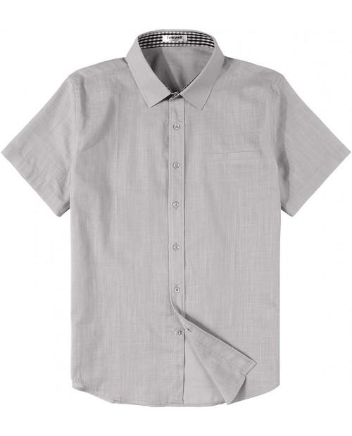 Tinkwell Men's Cotton Linen Shirt Regualr Fit Short Sleeve Casual Beach Shirt
