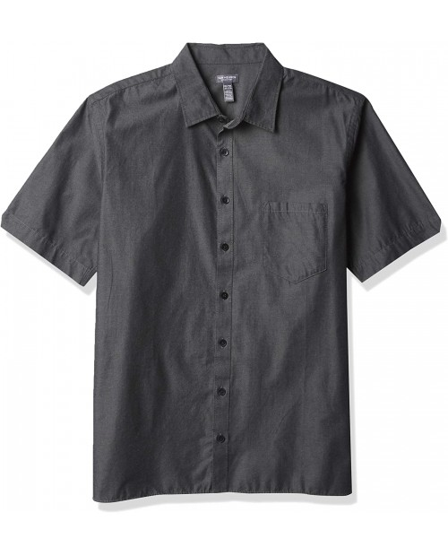 Van Heusen Men's Big & Tall Big and Tall Never Tuck Short Sleeve Solid Button Down Shirt at  Men's Clothing store
