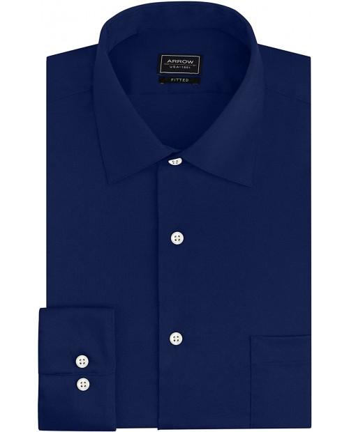 Arrow Men's Dress Shirts Fitted Stretch Solid at Men's Clothing store