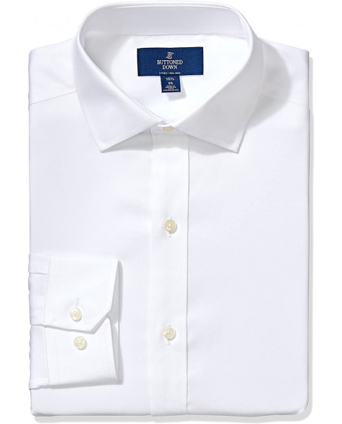 Brand - Buttoned Down Men's Fitted Solid Spread Collar Shirt