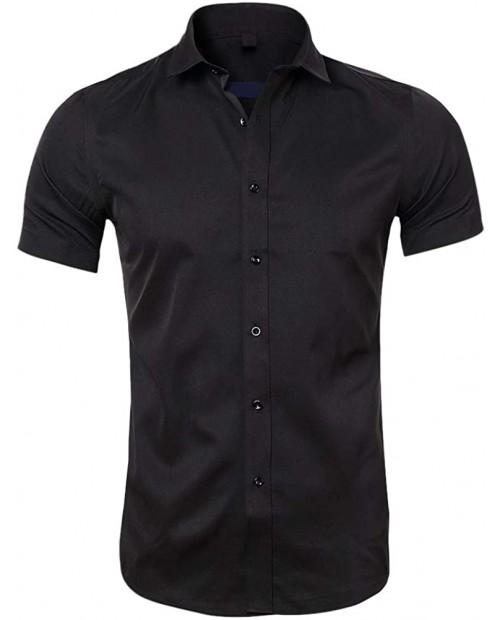 Mens Short Sleeve Non-Iron Top Regular Fit Button Down Summer Dress Shirt at  Men's Clothing store