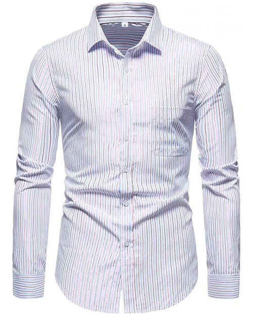 SZMXSS Long Sleeve Shirts for Men's Business Dress Button Pocket Striped Shirt at Men's Clothing store