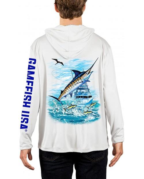 GAMEFISH USA UPF 50 Lightweight Microfiber Moisture Wicking Performance Fishing Hoodie Marlin at  Men's Clothing store