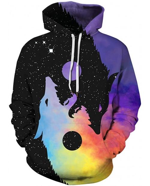 Imilan Men's Pullover Hoodie Galaxy Animal 3D Print Hooded Sweatshirts Unisex