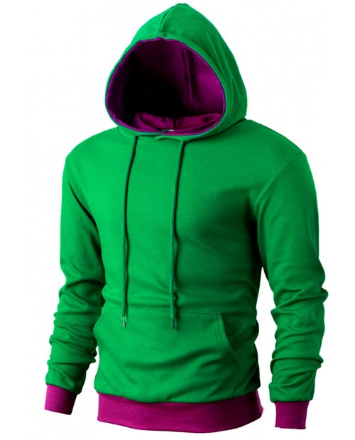 OHOO Men's Slim Fit Long Sleeve Lightweight Color-Block Pullover Hoodie with Kanga Pocket at  Men's Clothing store